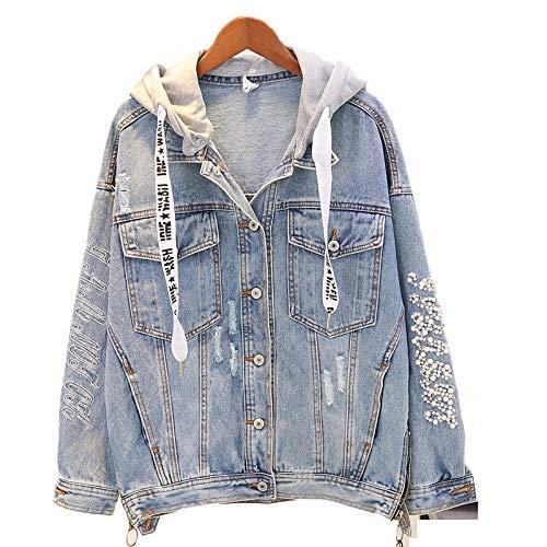 RLWQLFS Jeansjacke Abnehmbare Kapuze Denim Jacke Frühling Herbst Winter Femeal Jean Mantel Vintage Mantel weiblich lose Streetwear Mantel, l
