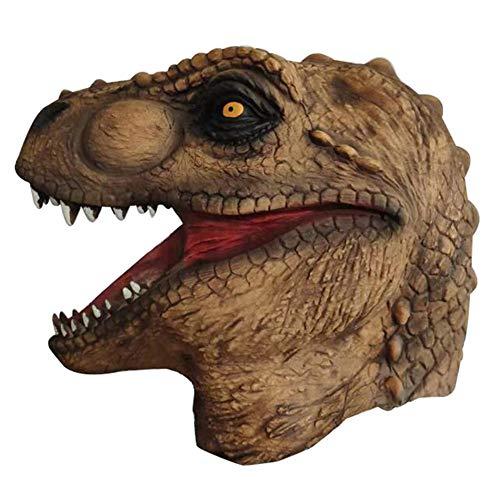 CHUANG TIAN Kostüm Emulsion Dinosaurier Halloween Phantasie Kopfbedeckung Kopfbedeckung Jurassic Park Dinosaurier Maske Cartoon Overlord Wasserhahn Set Halloween Latex Maske Tier Kreativ,Brown (Jurassic Park Kostüm Halloween)