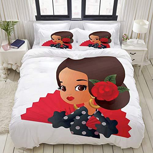 Traditionelle Flamenco Kostüm - MIGAGA Bedding Bettwäsche-Set,Chibi-Charakter im Flamenco-Kostüm mit Rose Flower auf ihrem Haar-Mädchen Cute Cartoon,Mikrofaser Bettbezug und Kissenbezug - (160 x 220 cm)