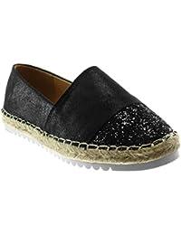 3a9edfb2e Angkorly Women's Fashion Shoes Espadrilles - Slip-on - Bi Material -  Metallic - Strass