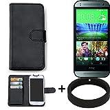 K-S-Trade Case für HTC One Mini 2 Schutz Tasche Hülle Walletcase schwarz Handytasche Handy Case Schutzhülle inkl. Bumper