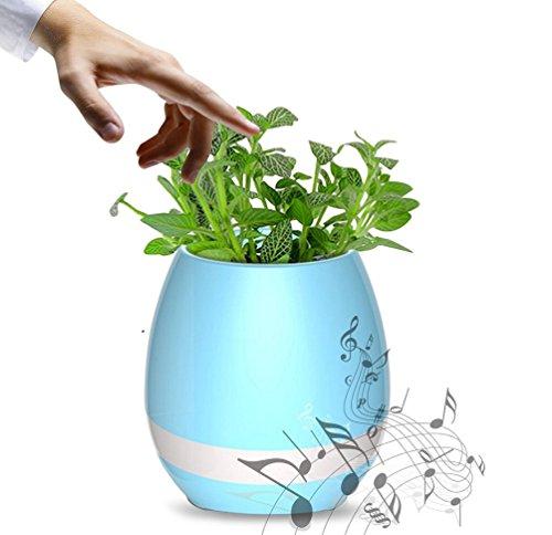 Musik Blumentopf Pflanztopf Smart Touch Musik Anlage Lampe mit Wiederaufladbare Kabellose Bluetooth-Lautsprecher und LED Nachtlicht für Office Home Decor (ohne Pflanze) blau