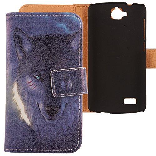 Lankashi PU Flip Leder Tasche Hülle Case Cover Schutz Handy Etui Skin Für Huawei Honor Holly Wolf Design