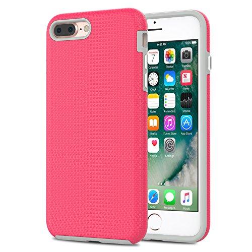 MoKo Coque iPhone 8 Plus / 7 Plus [Anti chute] Etui Housse Protecteur en Silicone + Noir Coque Polycarbonate Dur?Anti-Traces, Anti-dérapante, Avec la bonne finition pour iPhone 8 Plus / iPhone 7 Plus  Magenta