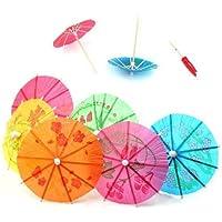 TRIXES 50 x Parasoles de Papel Colorido - para Fiestas, Decoración para Bebidas y Cócteles - Colores Surtidos - Sombrillas para Fiestas