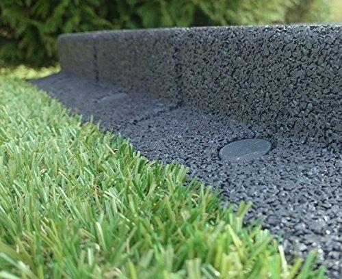 FlexiBorder - Bordure de jardin flexible pour gazons, allées, surplombs et pelouses artificielles - Marron - Longueur de 2 x 1m