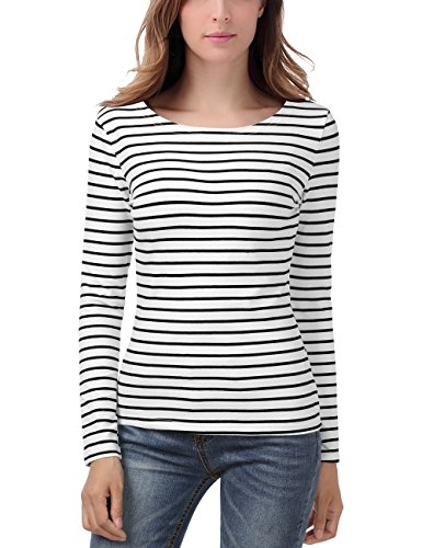 EA Selection Damen Ringel T Shirt Baumwoll Streifen Striped Marine Basic Weiß Streifen S (Striped Sleeve Long Top)