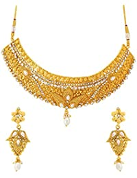 Voylla Traditional Alloy With Yellow Gold Plated Faux Stone Necklace Sets For Women