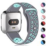 HUMENN Armband Für Fitbit Versa, Weich Silikon Ersatzarmband Smartwatch Sport Band für/Special Edition Smartwatch, Klein Silikon-Grau/Teal