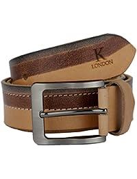 K London Men Casual,Formal,Evening Wear Brown and Black Genuine Leather Belt