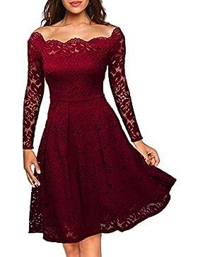576c8ae887bc SiDiOU Group Vestiti Donna Eleganti Floreale Pizzo Manica lunga Una linea  fuori spalla Vestito da swing