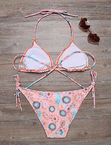 cooshional Damen Sexy Floral Bikini Set Bademode Reizvolle Neckholder Triangel Zweiteilig Badeanzug Orange-Rot