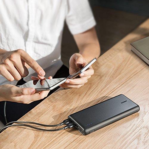 Anker PowerCore 26800mAh Power Bank Externer Akku mit Dual Input Ladeport, Doppelt so Schnell Wiederaufladbar, 3 USB Ports für iPhone X 8 8Plus 7 6s 6Plus, iPad, Samsung Galaxy, Android und weitere Smartphones (Schwarz) - 6
