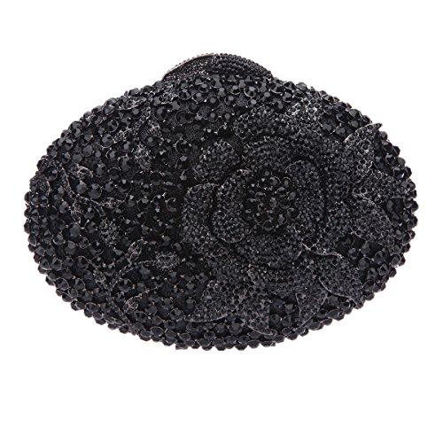 Bonjanvye Glitter Flower Clutch Purses Rhinestones and Handbags for Girls Red Black