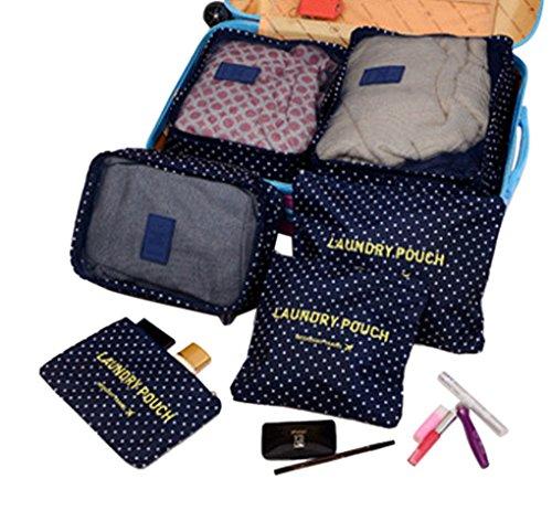 BXT 6 Set Cubi di Imballaggio Organizer da Viaggio Sistema di Cubo di Viaggio - 3 Cubi di Imballaggio + 3 Sacchetti- Perfetto di Viaggio Dei Bagagli Organizzatore