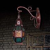 Applique da parete in vetro multicolore vintage, Lampada da parete semplice in ferro battuto a testa singola, LivinRoom, camera da letto, testiera, scala, E14 (senza lampadina), 26 * 16 * 20cm