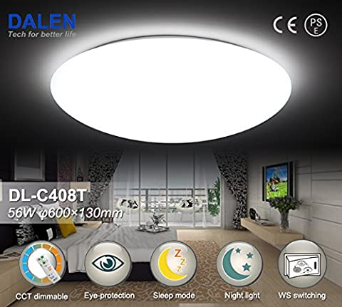 Dimmbare Intelligente LED-Deckenlampe mit verstellbarer Lichtfarbe, Lichtstrom und Fernbedienung, Classic Serie, 56W, Lichtfarbe 2800K~6000K, Lichtstrom 5000LM, Leuchtmittel Samsung/Seoul LED's, Intelligent ECO LED Light, optimaler Augenschutz