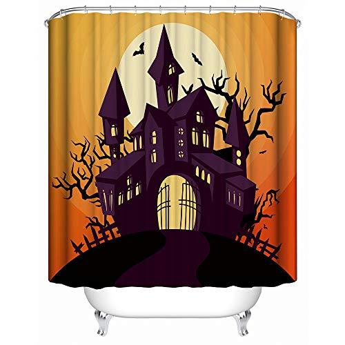 HUIYIYANG Duschvorhang Kunst Badezimmer Dekor, Cartoon Halloween Nacht -