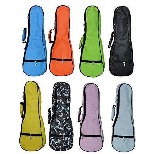 Zealux Tasche für Ukulele bunt verstellbarer Schulterriemen 5mm Schwammpolsterung 23/24 in Orange