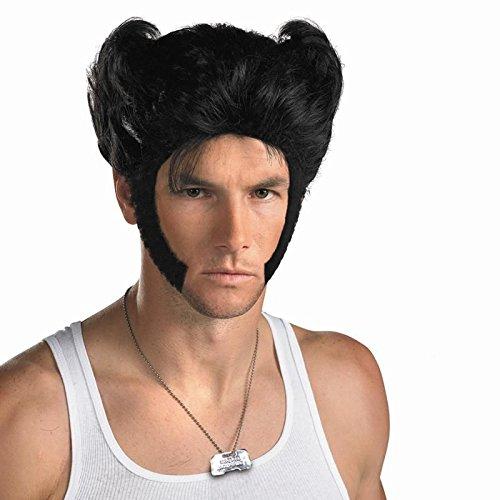 Halloween Wolf Perücke Wig Film Rine Männer Perücken Kostüm Schwarzes Kurzes Haar Zubehör Hair Accessories (X Men Zubehör)