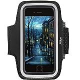 Ailun Schweißfest Sport Armband Handy Fitness für iPhone X/XS/XR/XS Max/8/7 Plus, für Galaxy Note 8 s8 s9 Plus, Joggen Laufen Handyhalter Mit Schlüsselhalter, Touch ID, Kopfhörer-Anschluss(Schwarz)