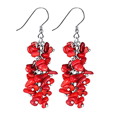 Lianjie Stone Cluster Reconstructed Coral Sterling Silver Hook Dangle Drop Earrings (Red)