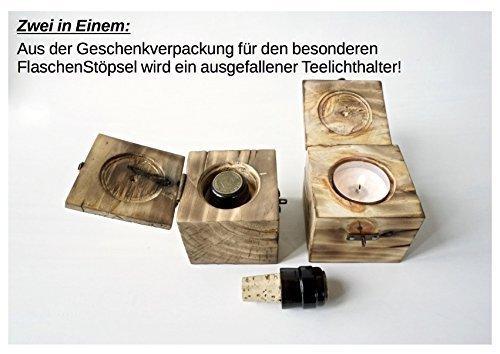 Flaschenkorken in Holzkästchen/Teelichthalter