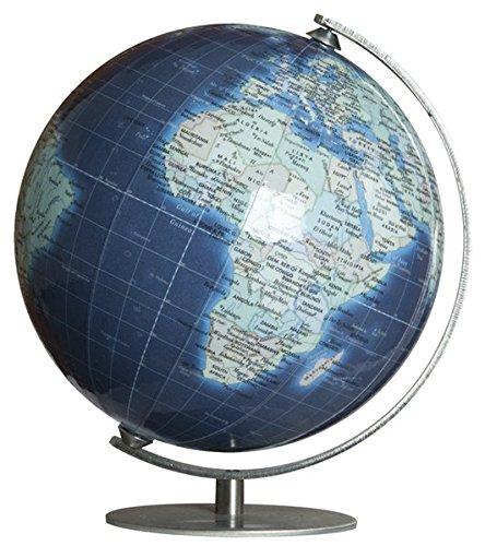 Columbus DUO AZZURO: Miniglobus, 12 cm Durchmesser, handkaschiert, politisch m. Kontinent-Vignettierung und dunkelblauen Meeren, unbeleuchtet, Metallmeridian und -fuß