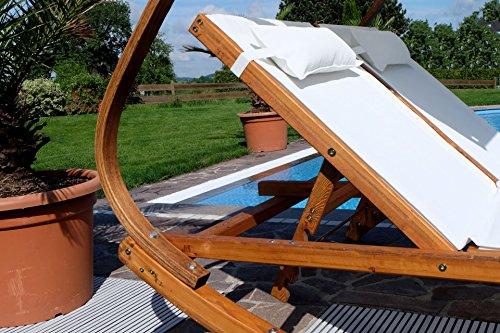 ASS Doppel – Sonnenliege Doppelliege Tulum extrabreit für 2 Personen mit verstellbarem Dach aus Holz Lärche von