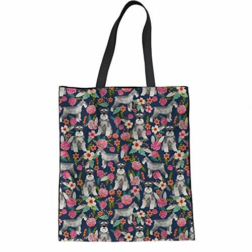 Coloranimal Big Capacity Womens Linen Tote Bag Cute Schnauzer Printed Handbags -