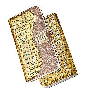 FNBK Kompatibel mit Hülle Huawei P Smart 2019 Handyhülle Glitzer Leder Tasche Diamant Soft Schutzhülle Wallet Flip Case Stoßfest Brieftasche Kratzfest Backcover Kartenhalter Stand Handytasche,Gold