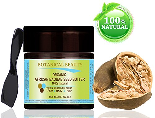 Beurre de graine de baobab africain Bio - 100% Naturel et Pur. Mélange non raffiné. 120ml pour le traitement de la peau, cheveux, lèvres et ongles. Une source naturelle de vitamines A, D, E & F et d'oméga 3, 6 & 9 et de minéraux.