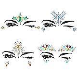 4 Sets Face Gems Strass Tattoo, Festival Jewels Augen Gesicht Stirn temporäre Tattoos Rave Glitzer Bindi Kristalle Rainbow Tränen Aufkleber
