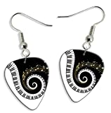 Piano Keys & Music Notes 2 X Logo Gitarre Plektrum Pick Ohrringe Earrings (GD)