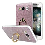 Galaxy A3 2015 Hülle Ring, Moon mood 2in1 Hybrid Hülle mit 360°Finger Griff Halter Hülle für Samsung Galaxy A3 SM-A3000 4.5 Zoll Handyhülle Clear Glitter Sparkly Crystal Sticker Silikon TPU Weich Case