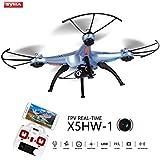 Drone con Cámara Wifi FPV,Syma X5HW-1 Quadcopter Cuadricópteros con Control Remoto con Mantenimiento de Altura,Modo Sin-Cabeza y Rotación de 360° 2.4GHz 4CH 6Ejes Gyro RTF - Azúl