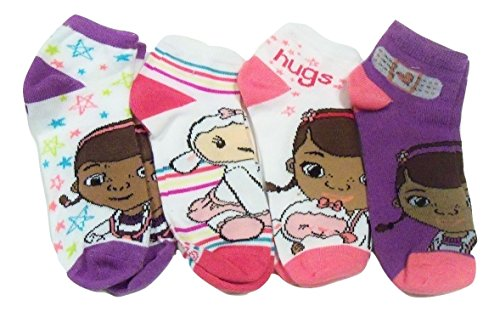 Disney Doc McStuffins 4 Sock Set ~ Gr??e 6-8 (Bunte Sterne, Umarmungen, Lambie, lila)