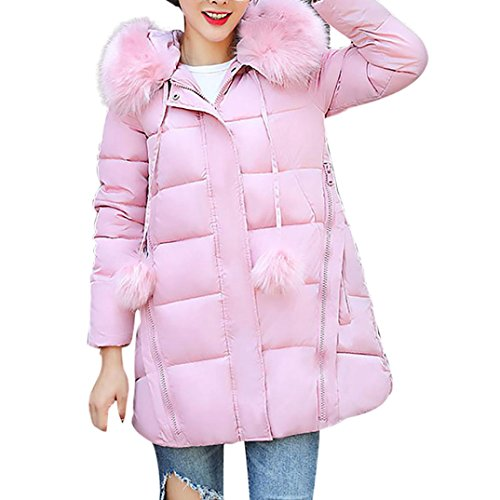 Lässig Baumwollejacke Damen, DoraMe Frauen Winterjacke Haar kragen Mantel Solide Dicker Warme Jacke Slim Lammy Strickjacke(Bitte wählen Sie eine größere Größe als üblich) (Rosa, XL) (Stricken Farben Sie Wählen)