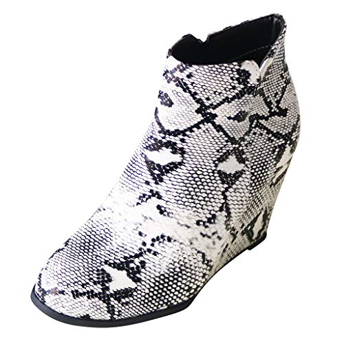 MOTOCO Women Booties Ladies Wedge Heels Snake Print Block Cowboy Style Gold Zip Western Ankle Boots
