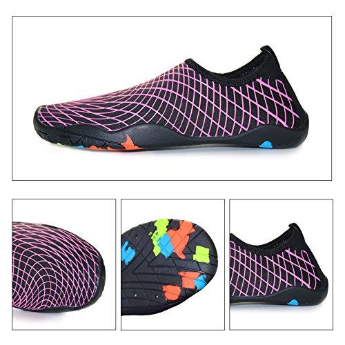 KEALUX Männer Frauen Barfuß Quick-Dry Wassersport Schuhe Multifunktionale Turnschuhe mit Drainage Löcher für Schwimmen, Walking, Yoga, See, Strand, Garten, Park, Fahren, Bootfahren Schwarz&Rosa