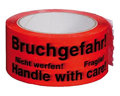 6 Stk. Packband Klebeband 50mmx66m, rot mit Aufdruck 'BRUCHGEFAHR' / Sonderposten - solange der Vorrat reicht!