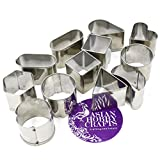 AsianHobbyCrafts Stainless Steel Mini Cookie/Biscuit/Cupcake Cutter - Set of 12 Shapes