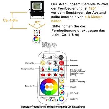 Farylux Led Wasserdichte 15w Im Freien Led Flut-licht (Rgb + Cct) Mit Fernbedienung 5