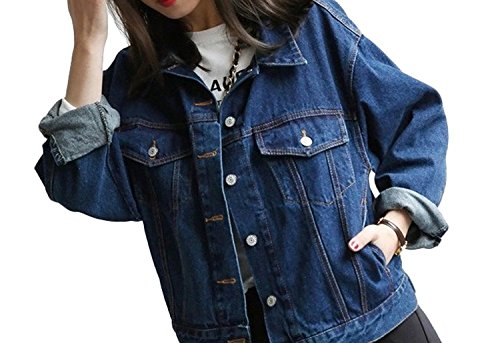 Minetom Giacca da Donna Giacca di Jeans Capispalla Outerwear Giubbino Corto Top Blu scuro IT 42