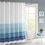 Lindong - Tenda da doccia impermeabile e lavabile, in tessuto antimuffa, con strisce colorate tenda per doccia con 12 anelli, tenda per vasca da bagno, 240 x 200 cm, tessuto, Blu 1, 180*200cm (B*H)