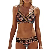 KEERADS Bikini Damen Set Push Up Neckholder Bandeau Bademode Badebekleidung Strand Badeanzug (XL, Gelb)