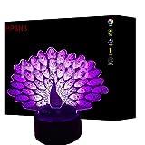 HPBN8 3D PFAU Lampe USB Power 7 Farben Amazing Optical Illusion 3D wachsen LED Lampe Formen Kinder Schlafzimmer Nacht Licht【7 bis 15 Tage in Deutschland angekommen】