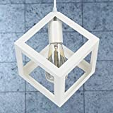 KING DO WAY Retro Hanging Ceiling Square Light Shade Square Ceiling Light Shade Pendant Geometric Metal Lamp Shade for Cafe Shop Kitchen White
