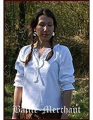 médiévale Chemisier avec dentelle, blanc en coton doux–Médiévale–Larp–Viking