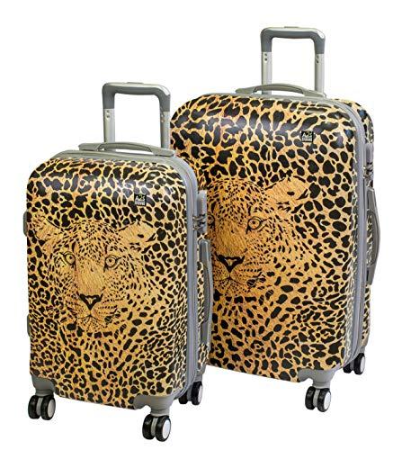 A2S Cabin gepäck ist leicht und langleib Hard Shell gedruckt Koffer mit 8 spiner räder Tasche (Flugzeuge) 55x35x22 cm (Leopard (Set 2)) (Hard-shell Koffer Leopard)